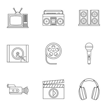 Electronic devices icons set, outline style Stock Photo