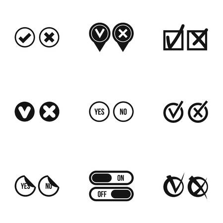 Yes no choice icons set, simple style Stock Photo