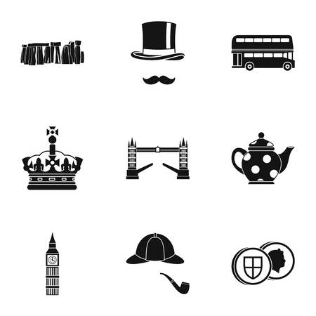 Attractions of United Kingdom icons set