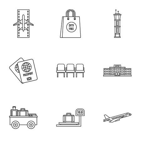 Flying on plane icons set, outline style Фото со стока
