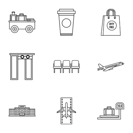 Check at airport icons set, outline style