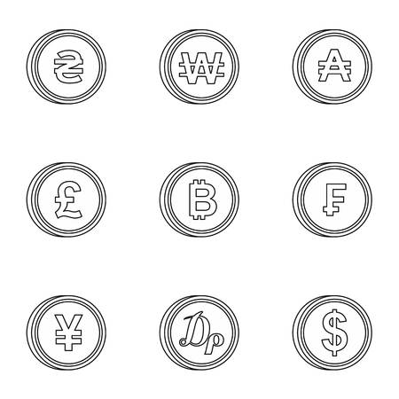 Finance icons set, outline style Stock Photo