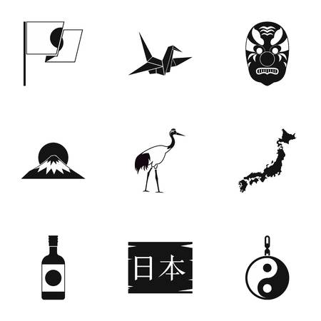 Japan icons set, simple style 版權商用圖片