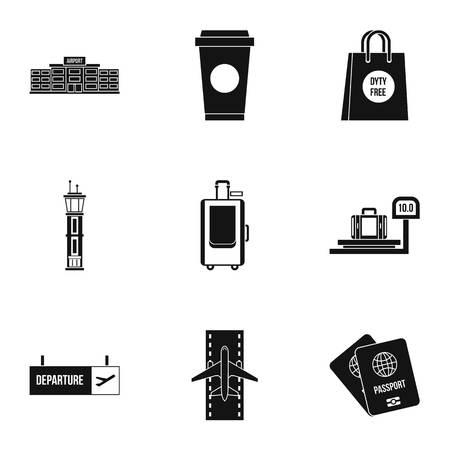 Airport icons set, simple style Фото со стока