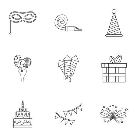 Holiday birthday icons set. Outline illustration of 9 holiday birthday icons for web