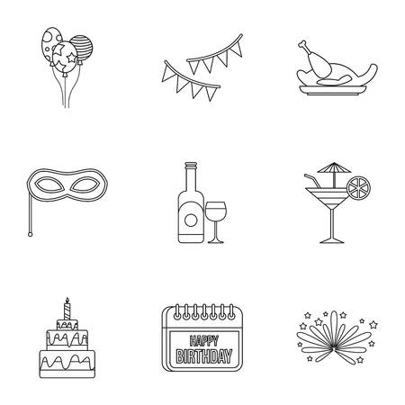 Children party icons set. Outline illustration of 9 children party icons for web