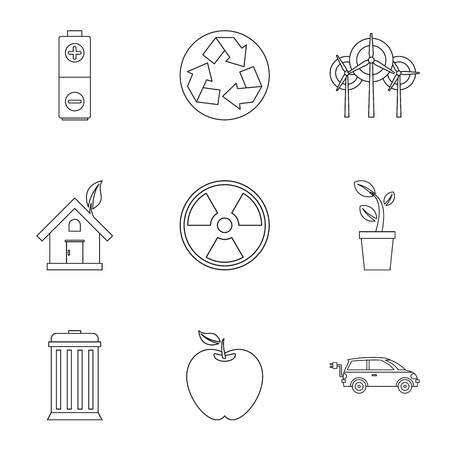 Ecology icons set, outline style Stock Photo