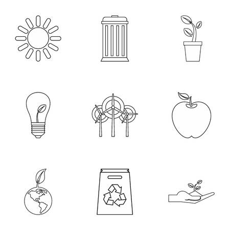 Environment icons set, outline style