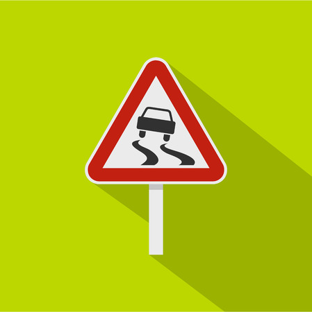 Slippery when wet road sign icon, flat style