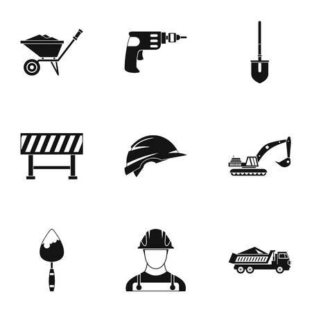 Repair tools icons set, simple style