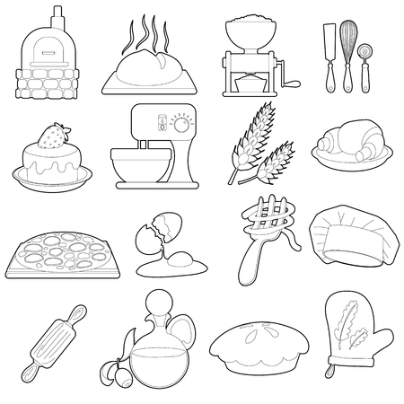 Bakery production icons set, outline cartoon style