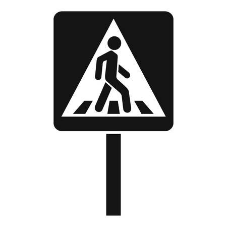 Pedestrian sign icon, simple style