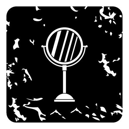 Round mirror icon. Grunge illustration of mirror icon for web design