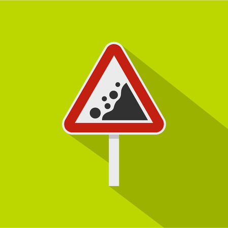 Rockfall traffic sign icon. Flat illustration of rockfall traffic sign icon for web isolated on lime background