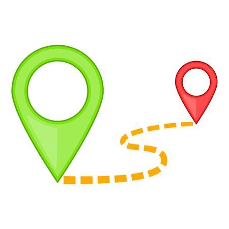 Map pointer icon, cartoon style
