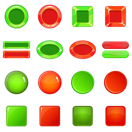 Blank web buttons icons set, cartoon style