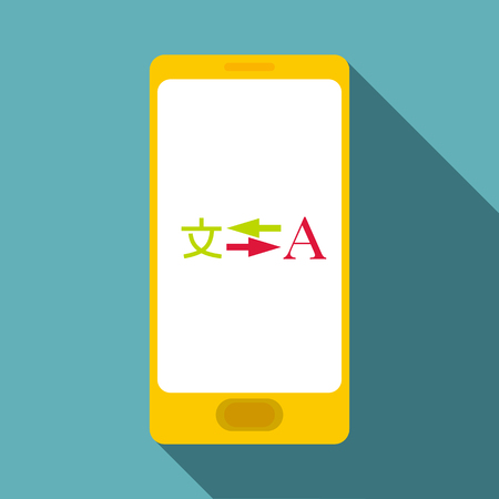 Phone translation icon. Flat illustration of phone translation icon for web Imagens