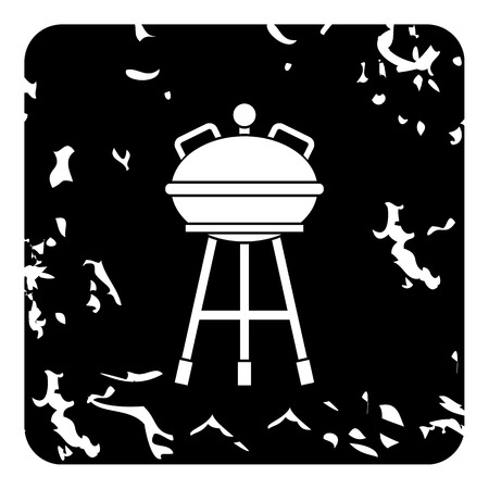 Kettle barbecue grill icon, grunge style Stock Photo
