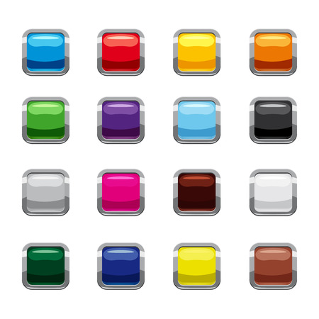 Blank square buttons icons set, cartoon style Stock Photo