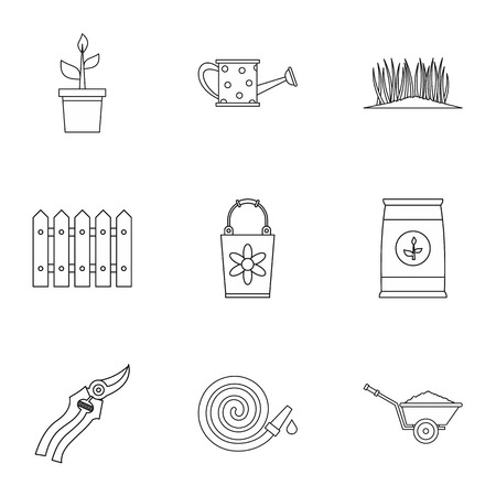 Agriculture icons set, outline style Stock Photo