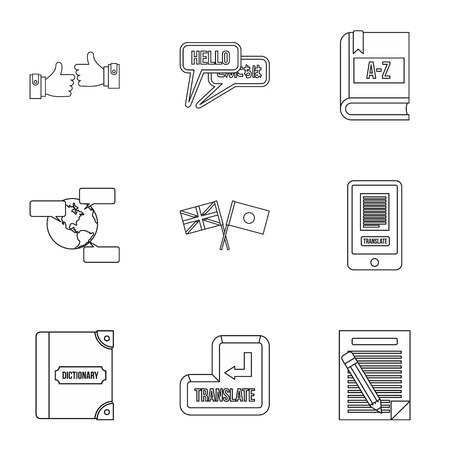 Foreign language icons set, outline style