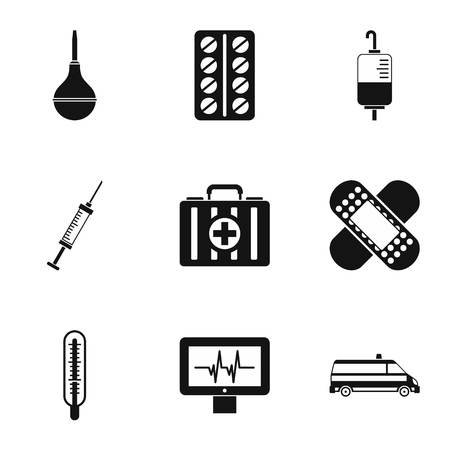 Treatment icons set, simple style