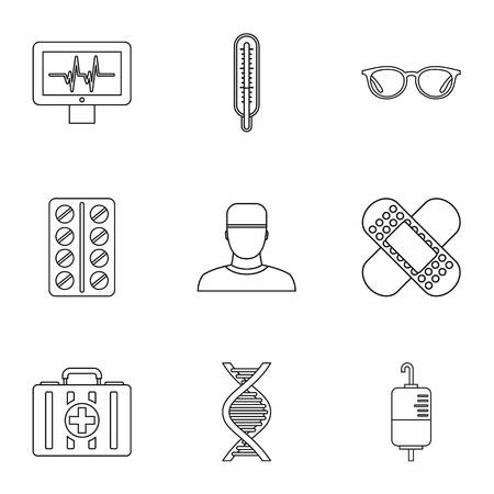 Healing icons set, outline style