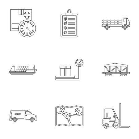 倉庫アイコンセット、アウトラインスタイル