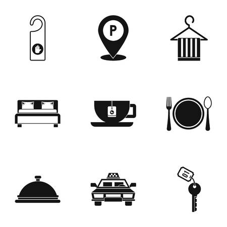 Hotel icons set, simple style