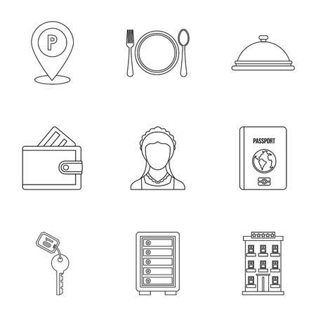 Hostel icons set, outline style
