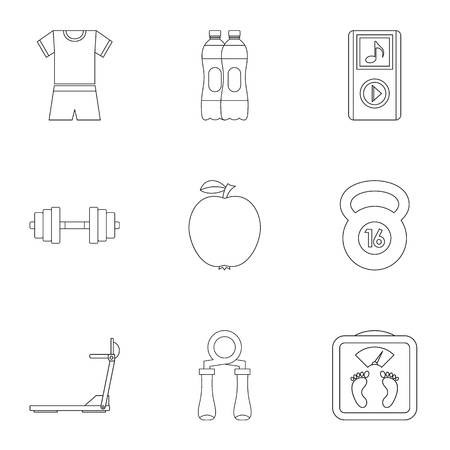 Fitness icons set, outline style Banco de Imagens