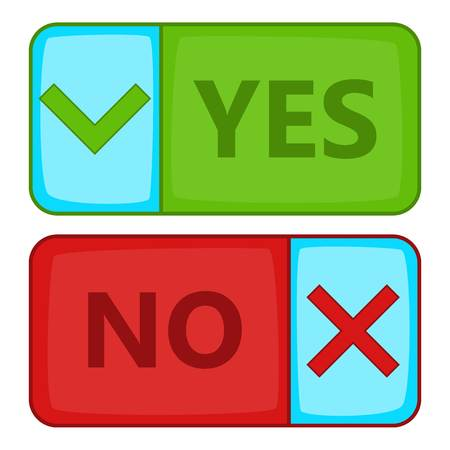 Yes and No button icon, cartoon style Stock Photo