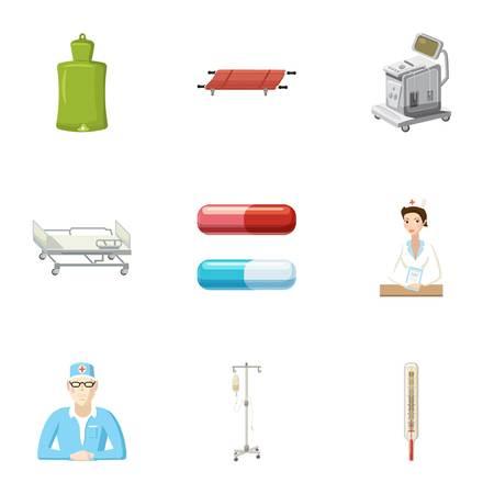 Hospital icons set, cartoon style