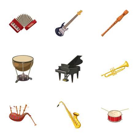 Musical device icons set, cartoon style Standard-Bild - 107496080