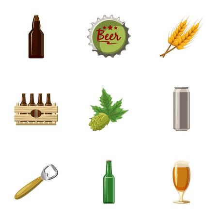 Beer holiday icons set, cartoon style