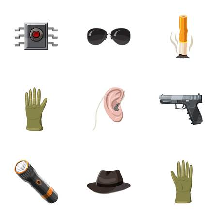 Secret agent icons set, cartoon style Reklamní fotografie