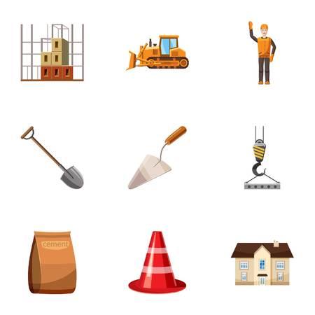 Construction tools icons set, cartoon style