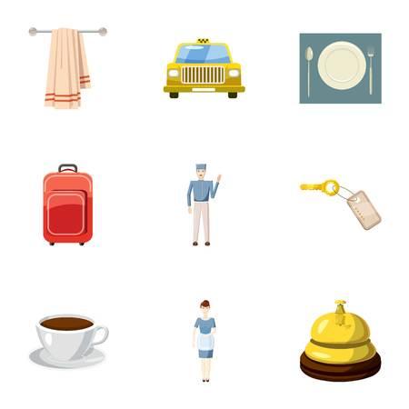 Hotel accommodation icons set, cartoon style 版權商用圖片