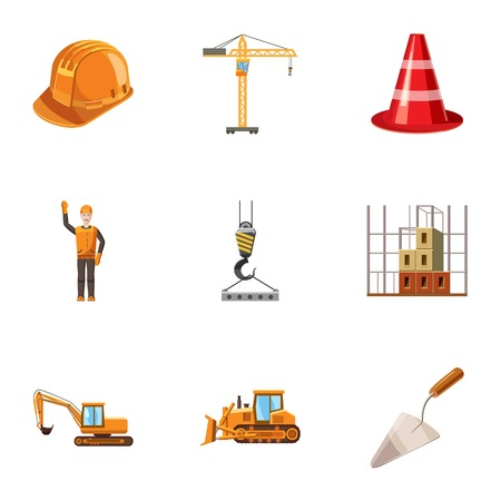 Building tools icons set, cartoon style