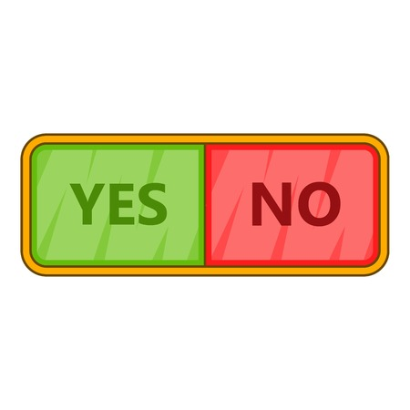Yes and now sign icon, cartoon style