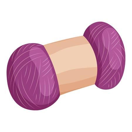 Skein of purple wool icon, cartoon style Stock Photo
