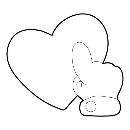 Heart touch icon, outline style