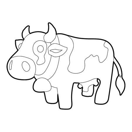 Cow icon, outline style Stock Photo