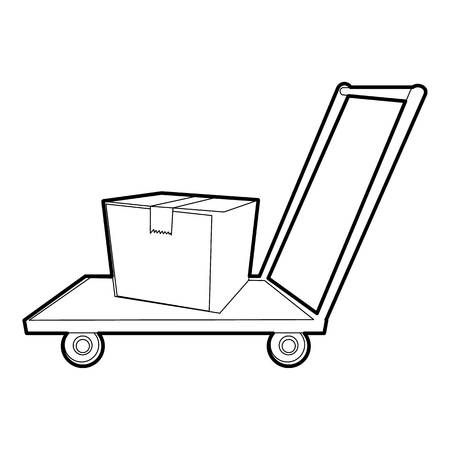 Warehouse trolley icon, outline style