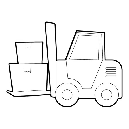 Forklift icon, outline style