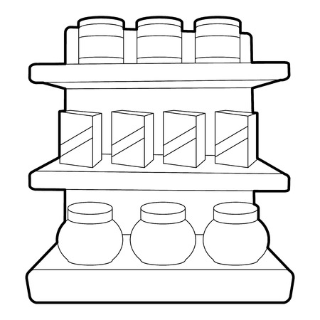 Shop shelves icon, outline style