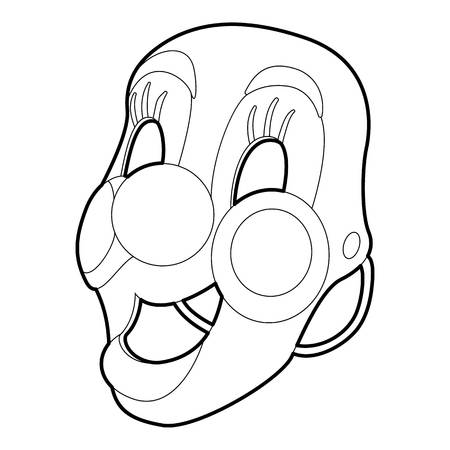 Clown mask icon, outline style