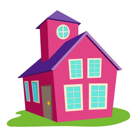 Colored house icon, cartoon style