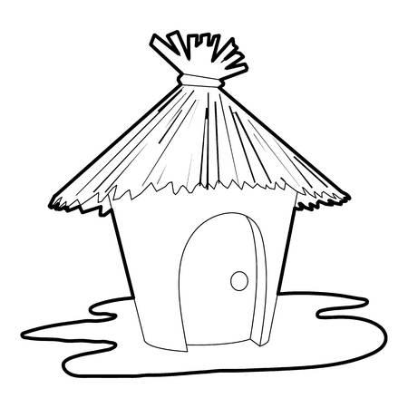 Icône de cabane, style de contour
