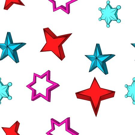 Types of stars pattern, cartoon style
